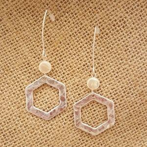 Hexagon Threader Earrings